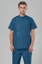 2018 Hospital &  Clinic Female & Male Doctor Short Sleeve Surgical Uniform Isolation Gown Scrub Set Nurse Medical Suit Set