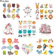 Prajna Ironing Stickers Owl Unicorn Cute Cartoon Anime Iron On Heat Transfer Vinyl Patches For Clothes T-shirt Applique Stickers(China)