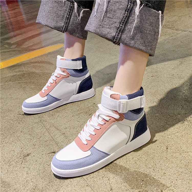 Mhysa 2019 Autumn Women Fashion Sneakers High Top Hook Loop Lace Up Platform Casual Shoes flat Heel Women's vulcanized shoes 42