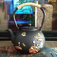 Techome 1.2 l茶ポットtetsubinケトル箸置き鋳鉄ティーポットセットコーヒーティーポットまたはフィルター大きなやか