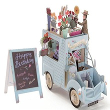 3D всплывающие Красочные цветы автомобиль поздравительная открытка День рождения Лазерная резка конверт открытка полые резные Киригами ручной работы подарки