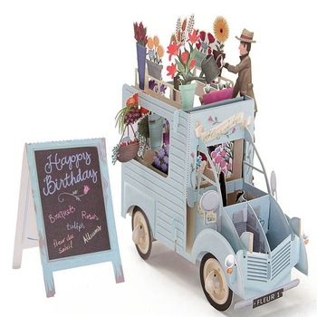 3D Pop Up Colourful Flower Car Greeting Card Birthday Card Laser Cutting Envelope Postcard Hollow Carved Handmade Kirigami Gifts