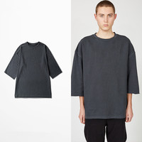 Extended Grey Half Sleeve T Shirts Oversized Tee Homme Kanye WEST Style Clothing T Shirt Hip