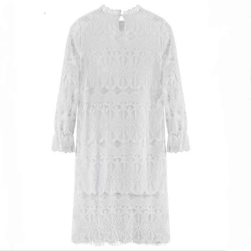 Mori Girl/осенне-зимнее женское длинное кружевное платье с воротником-стойкой, с вырезами, Corchet Vestidos Longo, с расклешенными рукавами, черно-белое платье миди