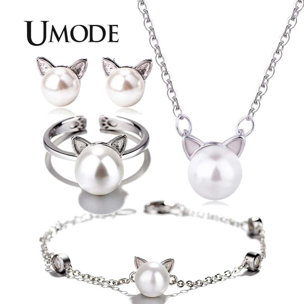 UMODE White Pearl Cat Ear White Gold Color Jewelry Sets for Women Bracelet and Open Cuff Ring and Earring and Necklace AUS0056