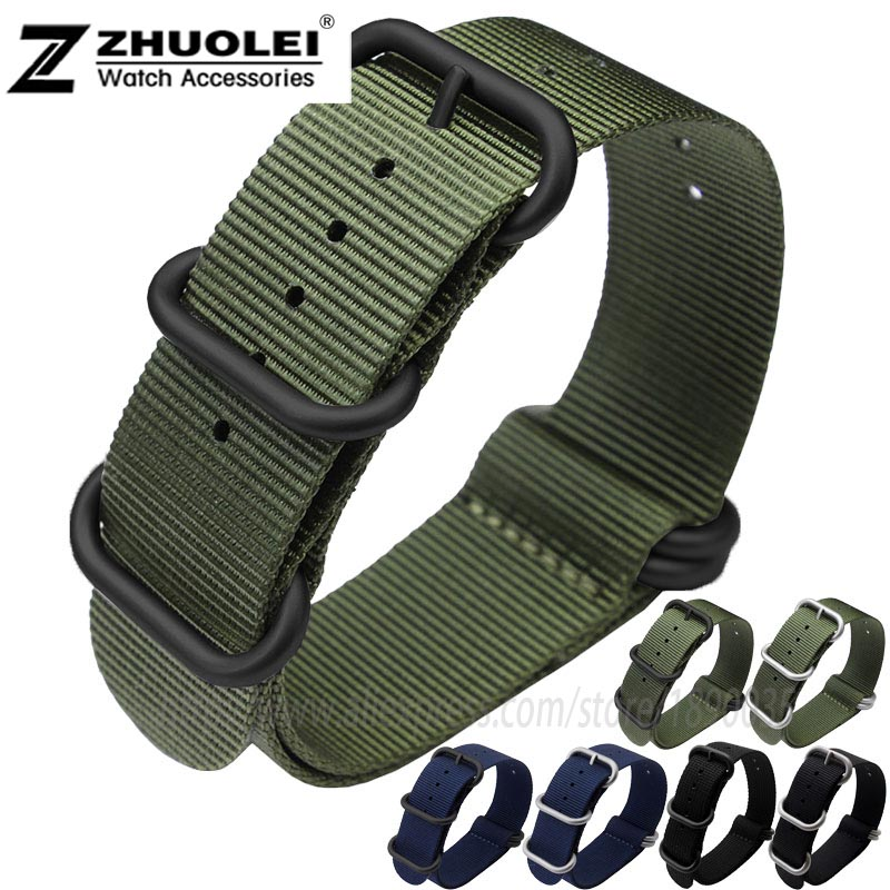 22mm 24mm 26mm Army green nylon watchband for Zulu nylon with stainless 5 rings in watch band waterproof sports strap jansin 22mm watchband for garmin fenix 5 easy fit silicone replacement band sports silicone wristband for forerunner 935 gps