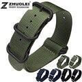 22mm 24mm 26mm verde Del Ejército de nylon correa de nylon Zulu con inoxidable 5 anillos en la banda de reloj impermeable deportes de la correa