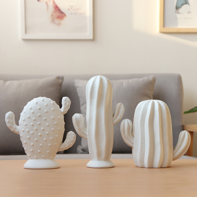 1pc White Ceramic Cactus Statue Matte Porcelain Cacti Ornament Christmas Home Decor Figurines Best Gift For