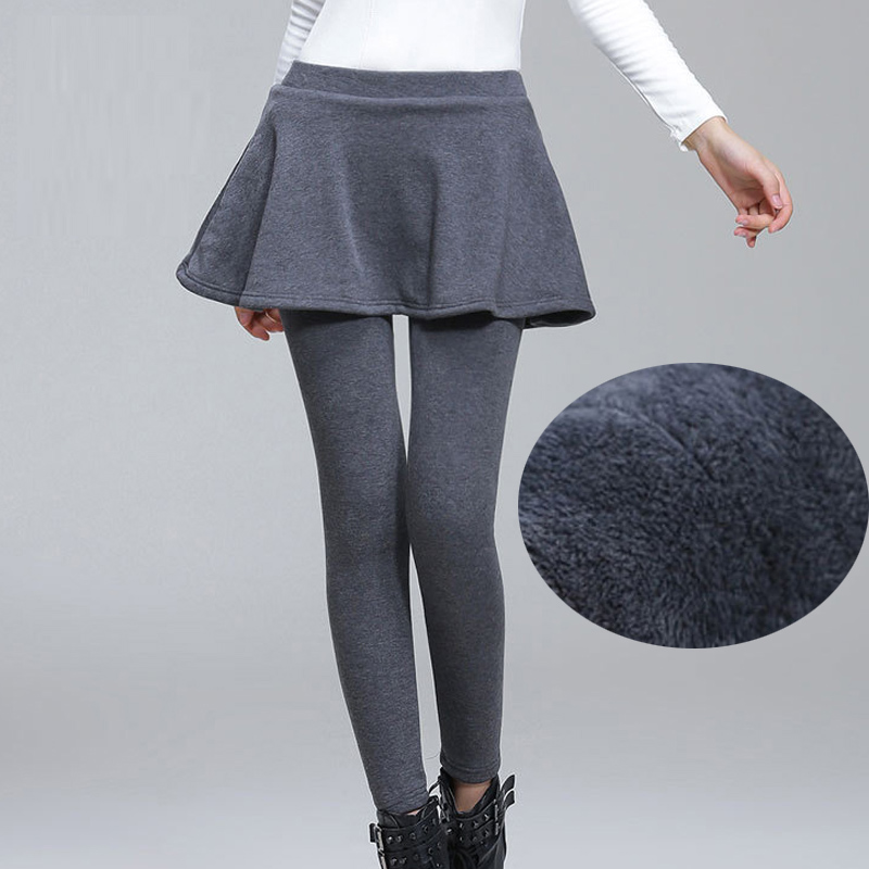 A-Line Skirt + Long Trousers Women Black Winter   Leggings   Plus Size S-4XL Add Fleece Lady Warm Skinny Pants