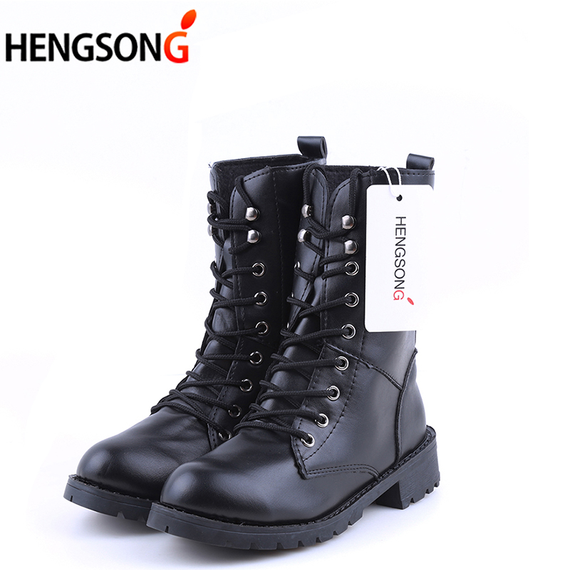 2017 PU Leather Women Boots Winter Warm Shoes Botas Feminina Female Fashion Motorcycle Ankle Boots Women Botas Mujer OR914442 new winter botas mujer fashion women ankle boots square heel platforms zapatos mujer pu leather high pump boots motorcycle shoes