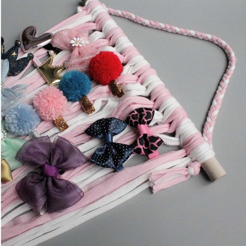 Women Girls Hair Bows Holder Storage Belt Barrette Hairpin Organizer Rainbow Hair Clips Headband DIY Hair Accessories Room Decor