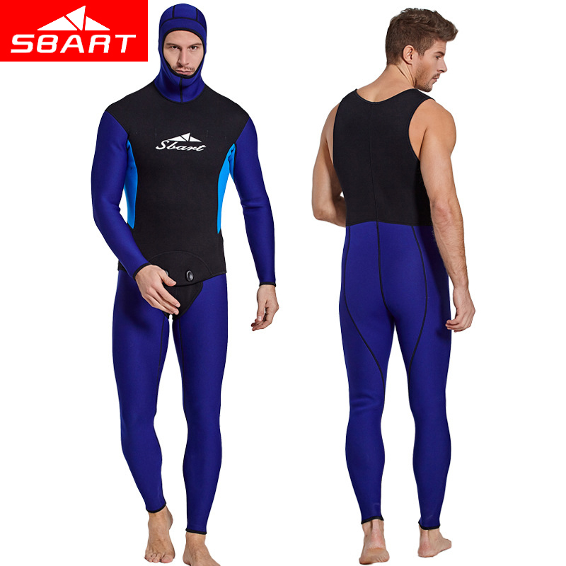 SBART Professional 3MM 2-Pieces Wetsuit Long Sleeved Spearfishing Wetsuits Hood Neoprene Thicker Diving Suits Wetsuit Rash Guard sbart professional 2mm men short sleeved wetsuit zipper one piece rash guard wetsuits neoprene scuba diving warm wetsuits
