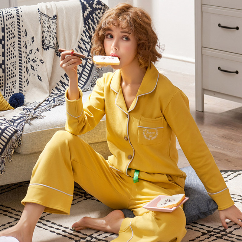 Women   Pajama     Sets   Kimono Cotton Long Sleeve Print Casual Pyjama 2018 Autumn Female Lace Up Homewear Sleepwear   Pajama   Suits