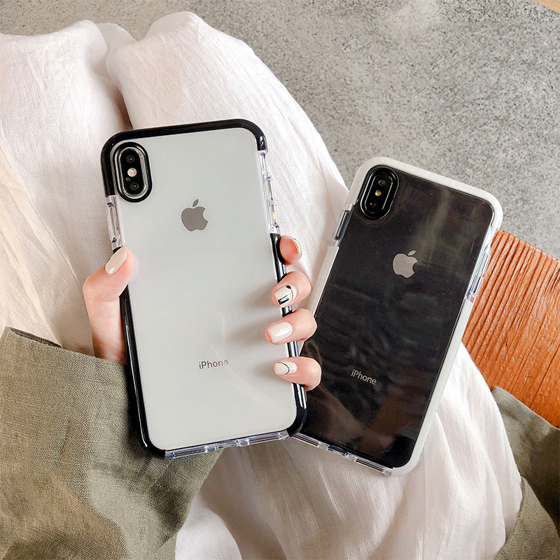 Anti-knock Shockproof Case for iphone X XR XS XS Max 6 6s 7 8 plus Transparent soft silicone case back cover Protective shell iphone