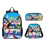 3 Pcs School Backpacks For Teen Girls School Bags Lightweight Kids Bags Children Travel Cartoon Sailor Moon Backpack Bookbag Set