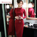 2016 New Arrival Women's Autumn Clothing Full Sleeve ZipperHigh Quality Solid Slim Sexy Female Knitting Pencil Dress S-XL