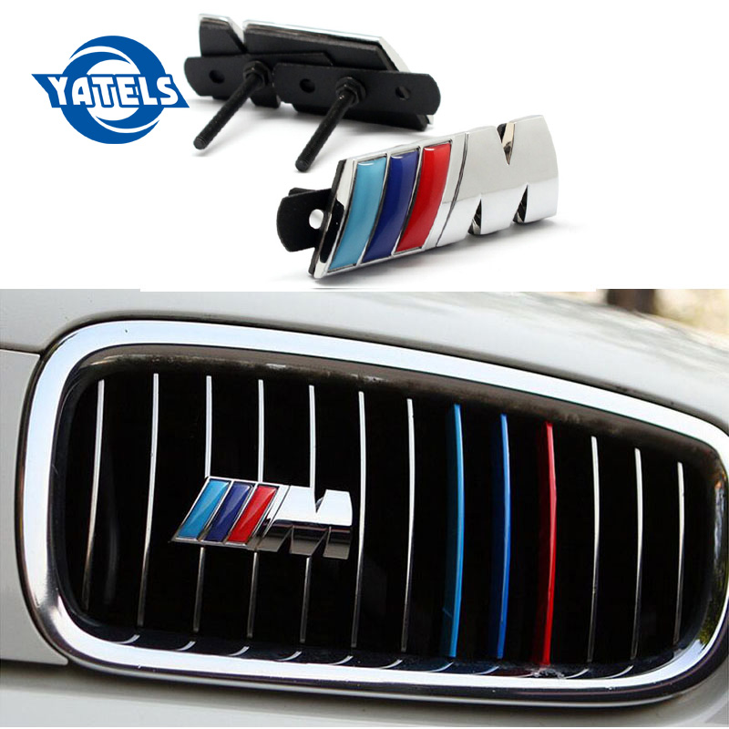 Car Styling 3D Metal M Power Car Front Grille emblem Chrome Badge 3D metal Logo Emblem For BMW M Badge E36 E30 E34 E46 E39 E60