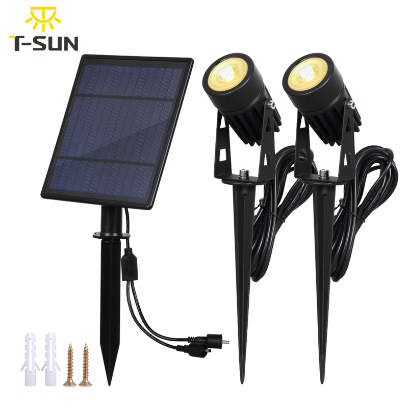 T SUNRISE Solar Powered Spotlight 2 Warm White Lights Solar Panel Outdoor Lighting Landscape Yard Garden