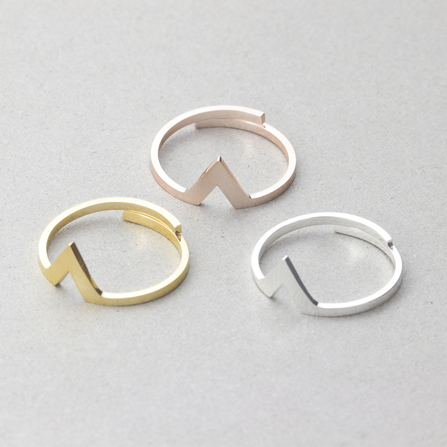 Stainless Steel Resizable Simple Chevron V Stacking Ring Men Jewelry Rose Gold C