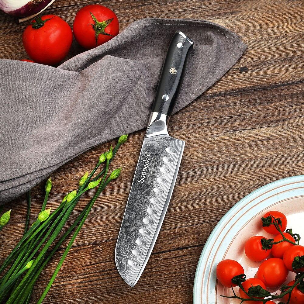 Sunnecko 7 inch Damascus Santoku Knife Japanese VG10 Steel Blade Razor Sharp Cut Kitchen Chef s