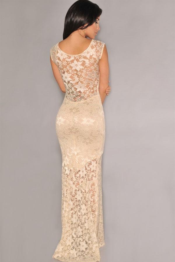 Vestidos elegantes de blonda largos