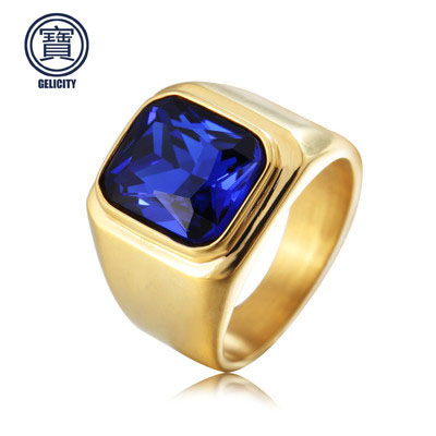 Ring Men Stainless Steel Couple Red Blue Black Stone Ring With Stone Wedding Gold Male Silver Ring For Men titanium ring