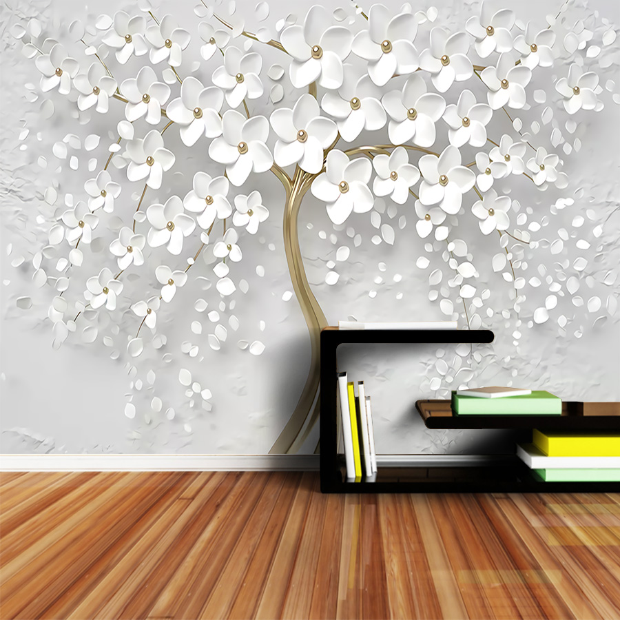 8d Crystal Silk Wallpaper Murals 3d for Living Room Bedroom Wall Papers Home Decor Paper Self Adhesive Wallpapers Tree Floral image