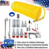 20pcs/Set Air Compressor Accessory Kit Tool 25 Ft Recoil Hose Gun Nozzles Set