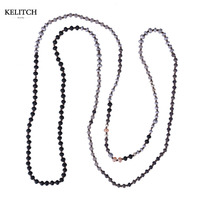 KELITCH Jewelry 1Pcs Long Beaded Natural Stone Beads Charm Strand Necklace For Women Gifts Beach Travel