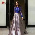 Azul Royal vestido de Duas Peças Vestidos de Noite do baile de Finalistas 2016 Árabe Jewel Neckling Lace Sheer Manga Comprida Abendkleider Vestidos de Alta Qualidade
