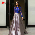 Royal Blue Two Pieces Evening Prom Dresses 2016 Arabic Jewel Neckling Sheer Lace  Long Sleeve High Quality  Abendkleider Gowns
