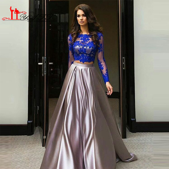 Royal Blue Two Pieces Evening Prom Dresses 2016 Arabic Jewel Neckling Sheer  Lace Long Sleeve High 24ce034167ca