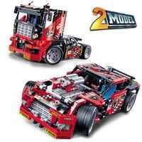 Decool teknik şehir serisi 2 model yarış kamyon araba yapı blokları tuğla modeli çocuk oyuncakları marvel uyumlu legoe