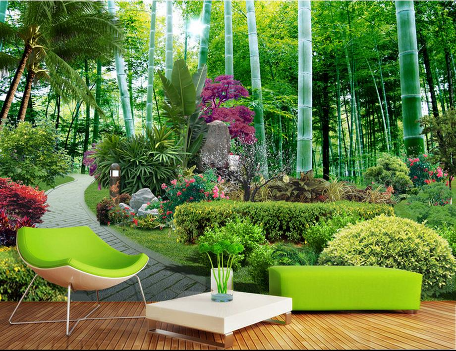Custom 3d stereoscopic wallpaper luxury garden bamboo for Bamboo wall mural wallpaper