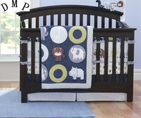 Promotion! 7PCS embroidered Animals Boy Baby Crib Bedding Sets Quilt Bumpers ,include(bumper+duvet+bed cover+bed skirt)