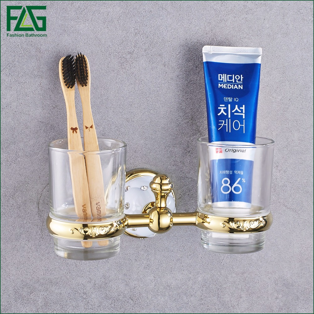 FLG New Modern Accessories Luxury European Style Golden Copper Toothbrush Tumbler&Cup Holder Wall Mount Bath Product 21202-2W new modern accessories luxury european style oil rubbed bronze metal toothbrush dual tumbler