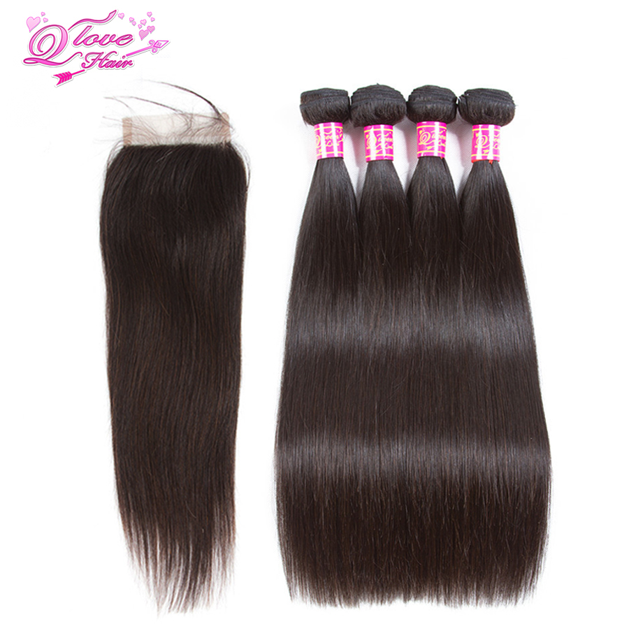 Queen Love Hair Human Hair Peruvian Straight Hair 4 Bundles With lace Closure 4 Bundles Natural Color Remy Hair Extensions