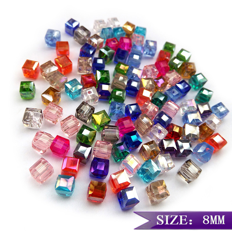 2MM//6MM//8MM Crystal bead Faceted Square Cube Glass Loose Spacer Beads,light blue
