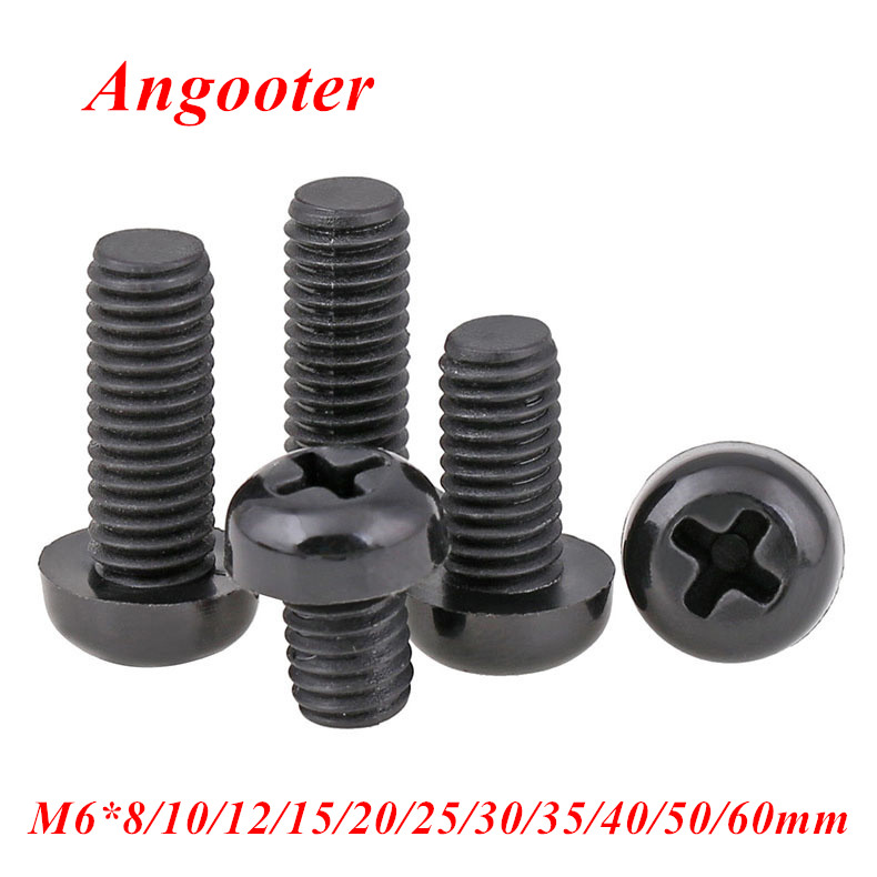 50pcs GB818 <font><b>M6</b></font>*8/10/12/15/20/25/30/40/<font><b>50mm</b></font> Black Nylon Round Head Screw Pan Phillips head Machine Screws Bolts with <font><b>M6</b></font> Hex Nut image