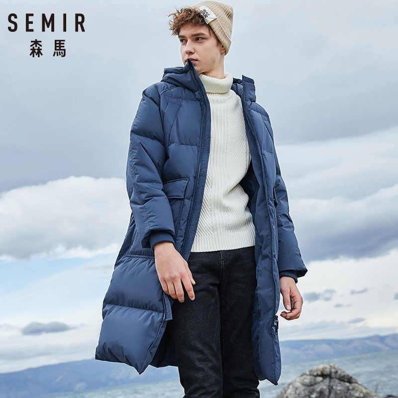 Semir 2020 nova roupa de inverno para baixo jaqueta de negócios longo grosso casaco de inverno dos homens sólida moda outerwear quente longo casaco homem