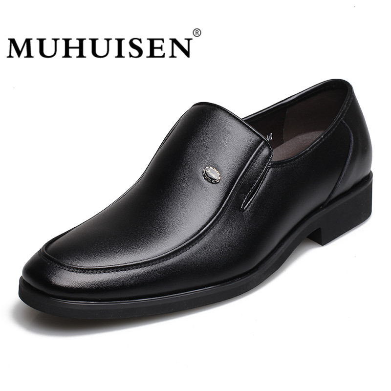 MUHUISEN Genuine Leather Flats Men Casual Shoes Fashion Comfortable Breathable Male Loafers Business Moccasins Shoes spring autumn fashion men high top shoes genuine leather breathable casual shoes male loafers youth sneakers flats 3a