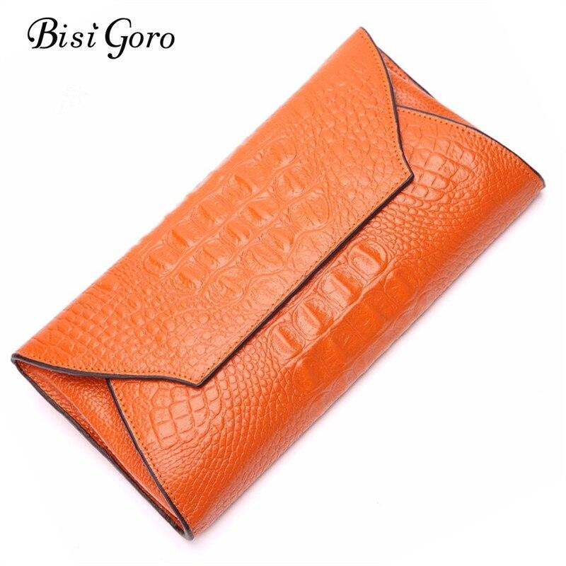 BISI GORO Women Wallets Alligators <font><b>Genuine</b></font> Leather Money <font><b>Clip</b></font> Long Wallet Female Money Holder Purse Women Clutch Money Bag 2017