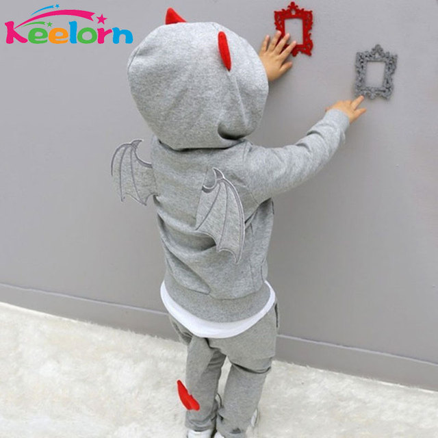 Keelorn Boys clothes 2017 Autumn Casual Long Sleeve sport suit children sets Cartoon little devil clothing sets Halloween gifts
