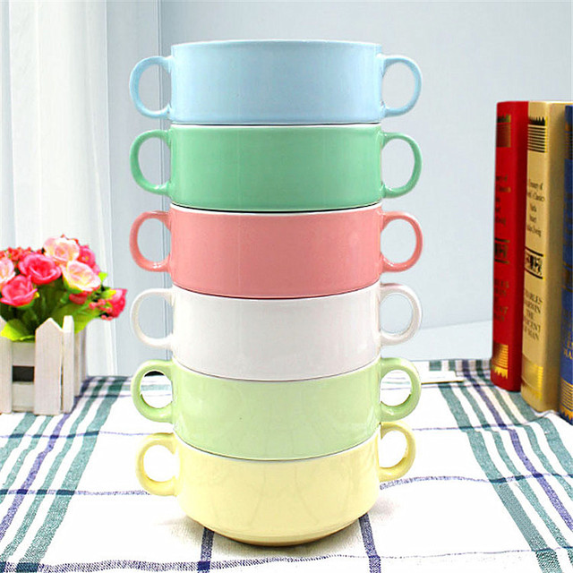 Handle Soup Bowl 300ml Microwaveable Containers Soup mugs ceramic ...