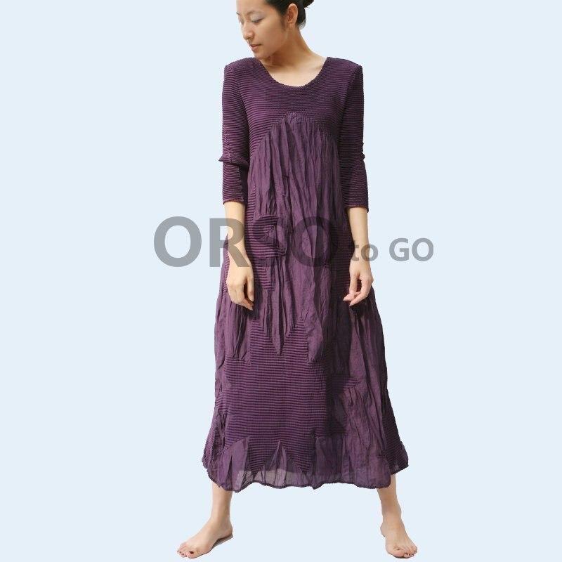Azterumi Issey Miyake Spring New 2019 Women Casual Loose Pleated Dress Women Round Neck Midi A-Line Dresses Purple Vestidos