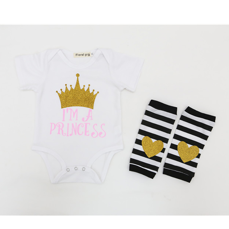 Cute Infant Clothes Set Baby Girl Bodysuits Set Socks Cartoon Crown Print Cotton Bodysuit Newborn Im a princess Letter clothes