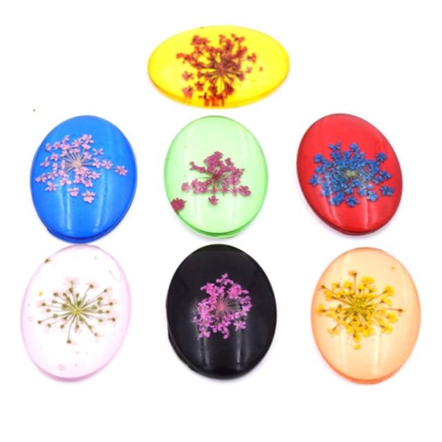 7 Farben DIY zubehör harz Getrocknet Blume Glas Stein Flache Perlen ...