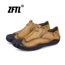 ZFTL New Men Casual Leather shoes Big size 38-45 Man Boat Male Driving Handmade Leisure Loafers Low-top  018