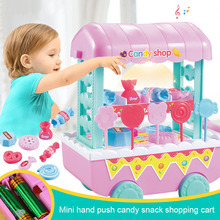 18 Pcs Set Children Kids Toy Role Play Candy Cart Shop Pretend Mini Gift with Light Music YJS Dropship