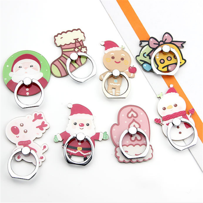 360 Degree Christmas Santa Claus Finger Ring Smartphone Stand Holder Mobile Phone Holder Stand For Iphone X 6 7 Huawei P20 Lite